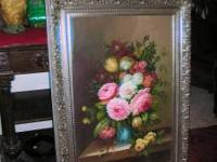 THIS BEAUTIFUL FLORAL PAINTING WITH ORNATE SILVER FRAME