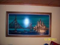 "Oil painting, modernistic cityscape 52"" wide by 30"""