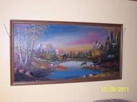 "Country scene oil painting, 50"" wide by 25"" high, if"