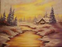 Winter landscape painting in oil on stretched canvas.