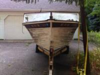 Old antique historical wooden boat. In great bodily