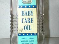 This old Rexall glass Baby Oil bottle is from Rexall