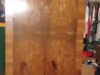Very Nice Antique Burl Walnut Armoire Wardrobe Closet