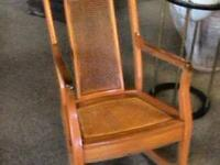 old Blonde Wood Cane Rocking Chair Excellent quality