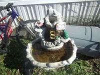 i have an old cement fountain , its two cabins with