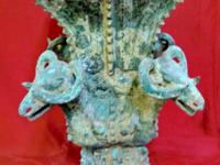 This old bronze incense burner came from Chengdu China,