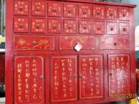 This old red Chinese herb medicine cabinet came from