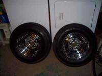 1 pair (2) 14 inch Old Style Chrome Reverse wheels with