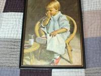 "Old Fashioned 11"" x 14"" framed picture of kid licking"