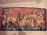 OLD FRINGED RUG WITH A MIDDLE EAST SCENE, VERY NICE,