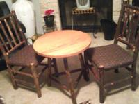 Rustic Vintage Bistro table and two chairs, wagon wheel