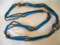 Old Indian Necklace with nice large round silver beads.