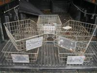 Numerous shapes and sizes of classic metal/wire baskets