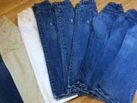 9 gently worn old navy slim pants for boys in excellent
