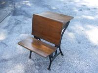 This is a old  antique oak child's school  house desk