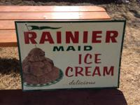 Ranier Ice Cream sign made by the Stout sign company