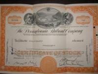 The Pennsylvania Railroad Company stock certificate.