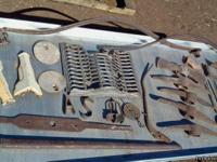 wagon springs, axels, hitchparts, old tools,