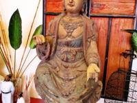 This old sitting Gwan Yin wood statue came from Shanxi