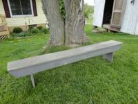 "FOR SALE $60.00 Old rustic wooden bench 89"" long, 11"