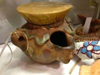 Older Meso American Drum Pot with Figural Head. Was