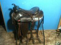 "Good older saddle. 16"" seat at padding, 7"" gullet,"