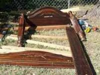 Older wood queen size bed frame. $25.00, please call or