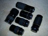 Five used Camera Lens 50mm-300mm from the '70's and