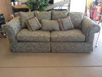 Olive green brocade sofa (7.5 feet in length). Like new