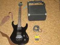 I have a black OLP flame electric guitar with Crate Amp