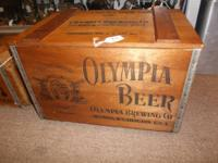Good old Olympia beer crate with lid - Terrific rustic