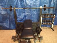 6 ft. Olympic Bar and fully adjustable bench. Set