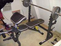 Wieder Olympic bench with 2 dumbell bars,1 tricep