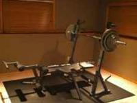 300 lbs Olympic weight set with bench bar, EZ-curl bar,