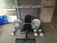 Olympic bench set bench bar curl bar 2- 45 lb dumbbell