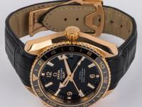 18k Red Gold, black crocodile strap with 18k red