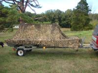 "14' Jon Boat, camouflage, pop up blind, 54"" wide at"