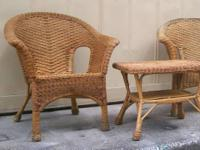 Genuine wicker 2PC collection of one chair and one