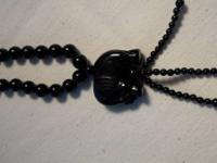 "30"" onyx bead necklace with Elephant onyx pendant. Must"