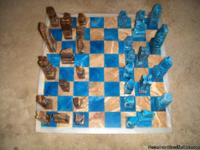 Chess set is blue and marbled brown onyx squares with a