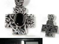 Silver Black Onyx Cross   strong.925 custom cage weaved