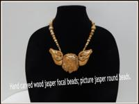 "One of a Kind necklace. Hand carved ""wood"" jasper"