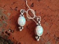 Sweet Sterling Silver and Opal earrings, beautiful blue