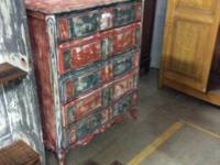 Orange and blue up-cycled chest with 5 drawers,