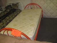 Very sturdy metal framed twin size beds.  One in orange
