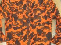 Orange camouflage button down shirt size XL. Brand is
