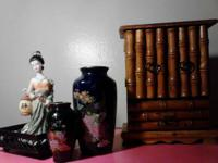 CERAMIC ASIAN WOMAN IS 6 INCHES TALL.  NEXT TO HER IS