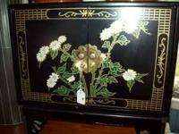 NICE BLACK LAQUER CABINET WITH FLORAL DESIGN ON FRONT