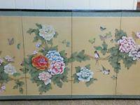 Oriental screen with birds and flowers with black