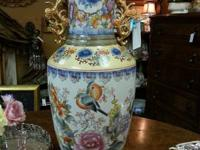 Gorgeous large oriental vase or jar with gilded handles